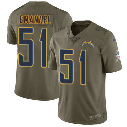 Nike Chargers #51 Kyle Emanuel Olive Men's Stitched NFL Limited Salute to Service Jersey