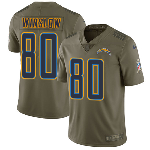 Nike Chargers #80 Kellen Winslow Olive Men's Stitched NFL Limited Salute to Service Jersey