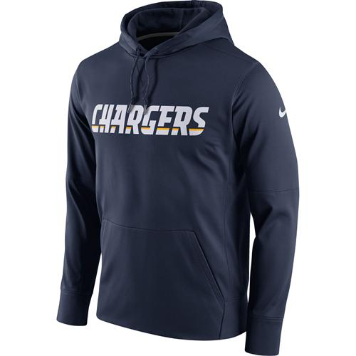 Men's Los Angeles Chargers Nike Navy Circuit Wordmark Essential Performance Pullover Hoodie