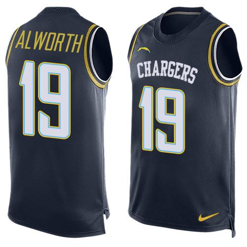 Nike Chargers #19 Lance Alworth Navy Blue Team Color Men's Stitched NFL Limited Tank Top Jersey