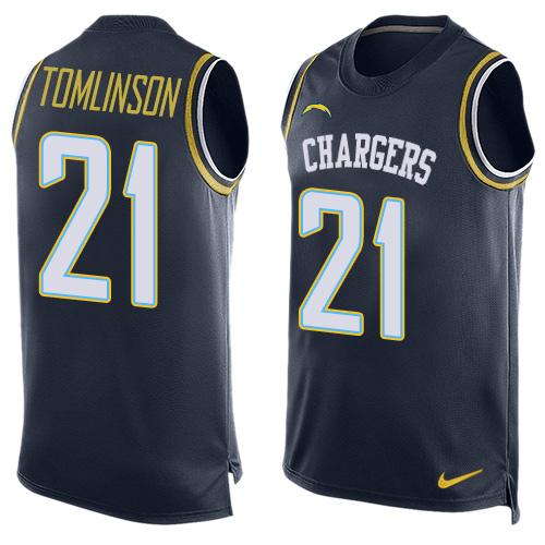 Nike Chargers #21 LaDainian Tomlinson Navy Blue Team Color Men's Stitched NFL Limited Tank Top Jersey