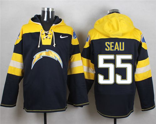 Nike Chargers #55 Junior Seau Navy Blue Player Pullover NFL Hoodie