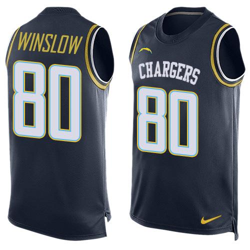 Nike Chargers #80 Kellen Winslow Navy Blue Team Color Men's Stitched NFL Limited Tank Top Jersey