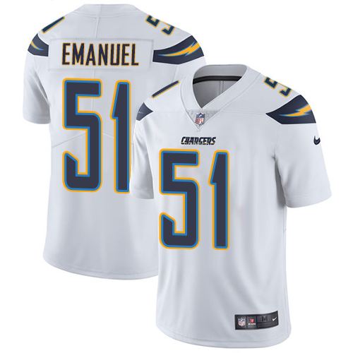 Nike Chargers #51 Kyle Emanuel White Men's Stitched NFL Vapor Untouchable Limited Jersey