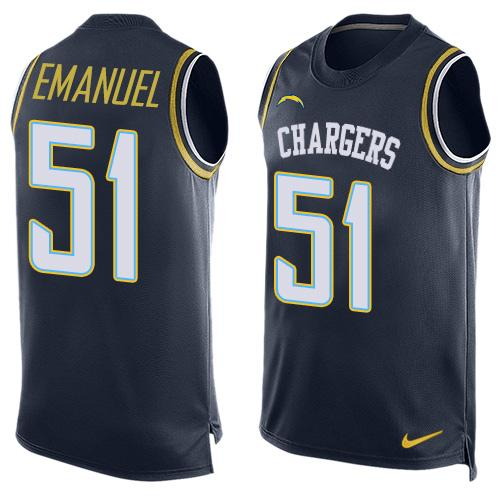 Nike Chargers #51 Kyle Emanuel Navy Blue Team Color Men's Stitched NFL Limited Tank Top Jersey