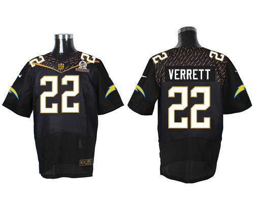 Nike Chargers #22 Jason Verrett Black 2016 Pro Bowl Men's Stitched NFL Elite Jersey