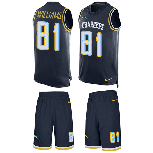 Nike Chargers #81 Mike Williams Navy Blue Team Color Men's Stitched NFL Limited Tank Top Suit Jersey