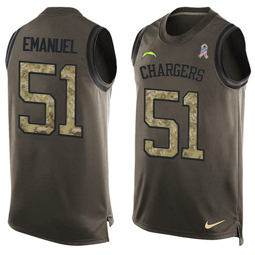 Nike Chargers #51 Kyle Emanuel Green Men's Stitched NFL Limited Salute To Service Tank Top Jersey