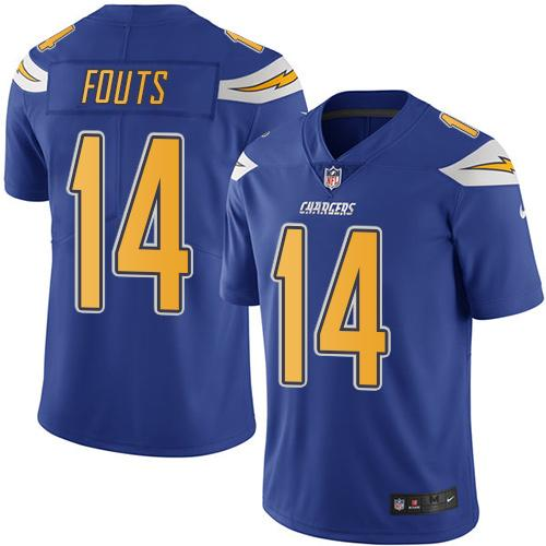 Nike Chargers #14 Dan Fouts Electric Blue Men's Stitched NFL Limited Rush Jersey