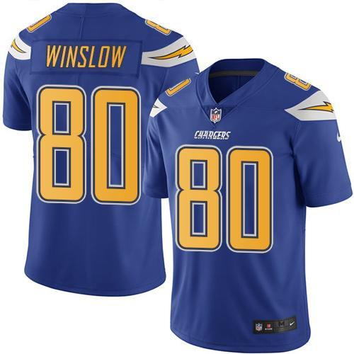 Nike Chargers #80 Kellen Winslow Electric Blue Men's Stitched NFL Limited Rush Jersey