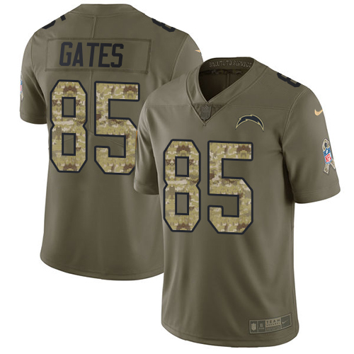 Nike Chargers #85 Antonio Gates Olive/Camo Men's Stitched NFL Limited Salute To Service Jersey