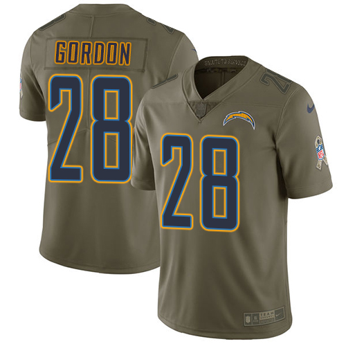 Nike Chargers #28 Melvin Gordon Olive Men's Stitched NFL Limited Salute to Service Jersey