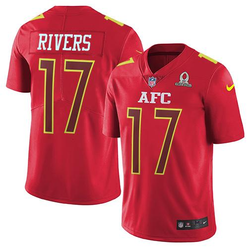 Nike Chargers #17 Philip Rivers Red Men's Stitched NFL Limited AFC Pro Bowl Jersey