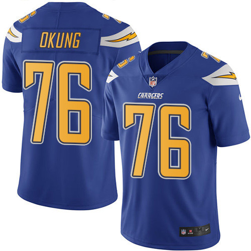 Nike Chargers #76 Russell Okung Electric Blue Men's Stitched NFL Limited Rush Jersey
