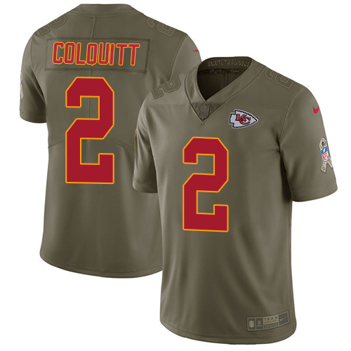 Nike Chiefs #2 Dustin Colquitt Olive Men's Stitched NFL Limited Salute to Service Jersey