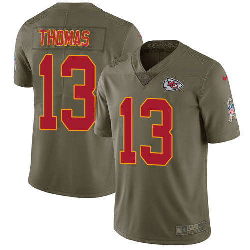 Nike Chiefs #13 De'Anthony Thomas Olive Men's Stitched NFL Limited Salute to Service Jersey