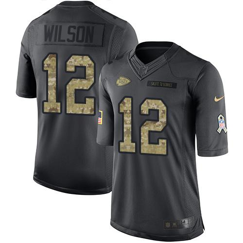 Nike Chiefs #12 Albert Wilson Black Men's Stitched NFL Limited 2016 Salute to Service Jersey