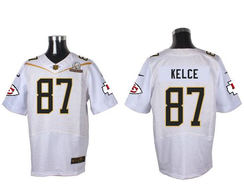 Nike Chiefs #87 Travis Kelce White 2016 Pro Bowl Men's Stitched NFL Elite Jersey