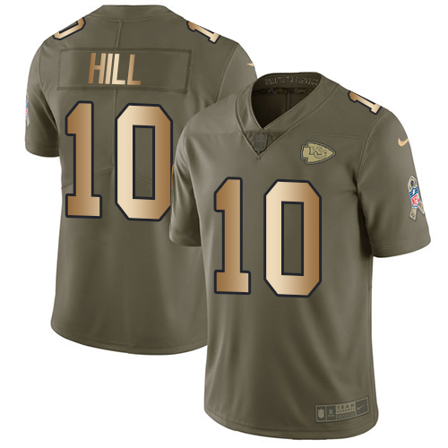Nike Chiefs #10 Tyreek Hill Olive/Gold Men's Stitched NFL Limited Salute To Service Jersey