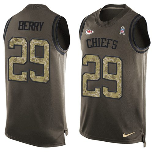 Nike Chiefs #29 Eric Berry Green Men's Stitched NFL Limited Salute To Service Tank Top Jersey