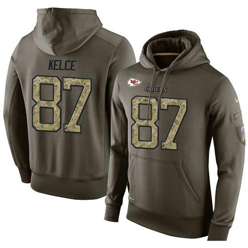 NFL Men's Nike Kansas City Chiefs #87 Travis Kelce Stitched Green Olive Salute To Service KO Performance Hoodie