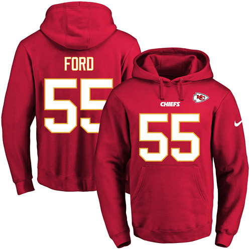 Nike Chiefs #55 Dee Ford Red Name & Number Pullover NFL Hoodie