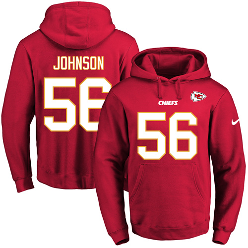 Nike Chiefs #56 Derrick Johnson Red Name & Number Pullover NFL Hoodie