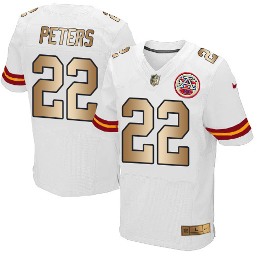 Nike Chiefs #22 Marcus Peters White Men's Stitched NFL Elite Gold Jersey