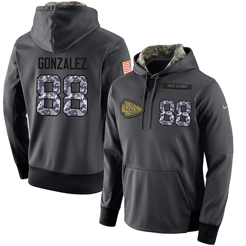NFL Men's Nike Kansas City Chiefs #88 Tony Gonzalez Stitched Black Anthracite Salute to Service Player Performance Hoodie