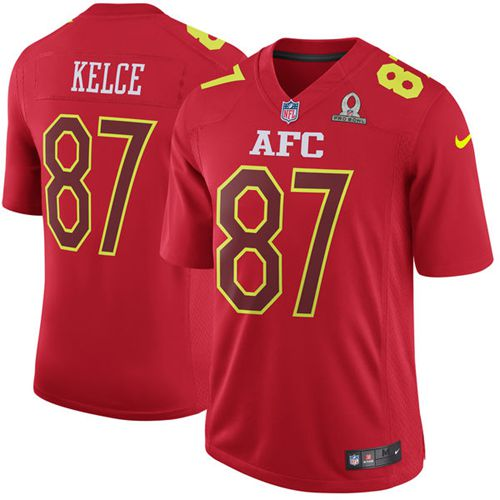Nike Chiefs #87 Travis Kelce Red Men's Stitched NFL Game AFC Pro Bowl Jersey