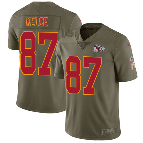 Nike Chiefs #87 Travis Kelce Olive Men's Stitched NFL Limited Salute to Service Jersey