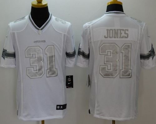 Nike Cowboys #31 Byron Jones White Men's Stitched NFL Limited Platinum Jersey