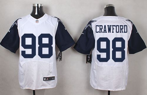 Nike Cowboys #98 Tyrone Crawford White Men's Stitched NFL Elite Rush Jersey