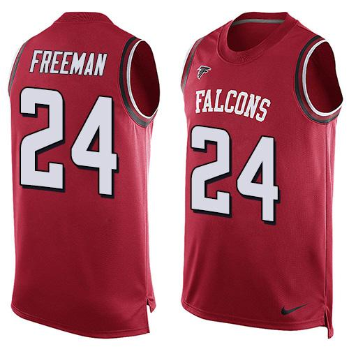 Nike Falcons #24 Devonta Freeman Red Team Color Men's Stitched NFL Limited Tank Top Jersey