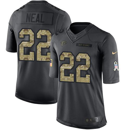 Nike Falcons #22 Keanu Neal Black Men's Stitched NFL Limited 2016 Salute To Service Jersey