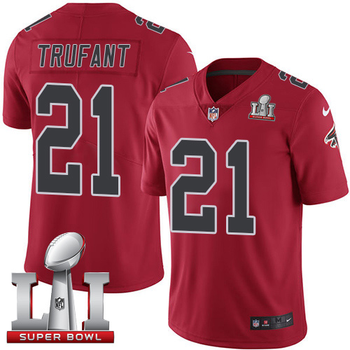 Nike Falcons #21 Desmond Trufant Red Super Bowl LI 51 Men's Stitched NFL Limited Rush Jersey