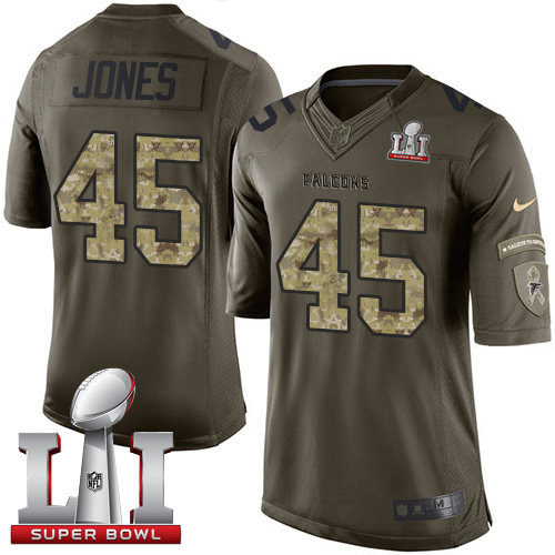 Nike Falcons #45 Deion Jones Green Super Bowl LI 51 Men's Stitched NFL Limited Salute To Service Jersey