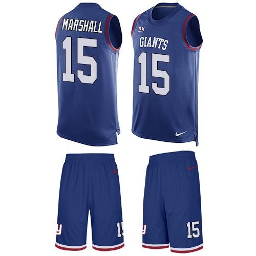 Nike Giants #15 Brandon Marshall Royal Blue Team Color Men's Stitched NFL Limited Tank Top Suit Jersey