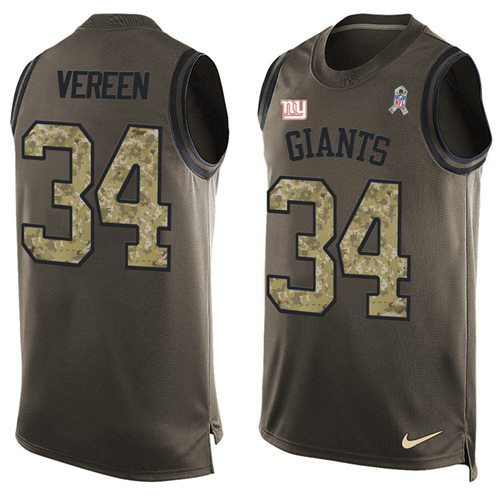Nike Giants #34 Shane Vereen Green Men's Stitched NFL Limited Salute To Service Tank Top Jersey