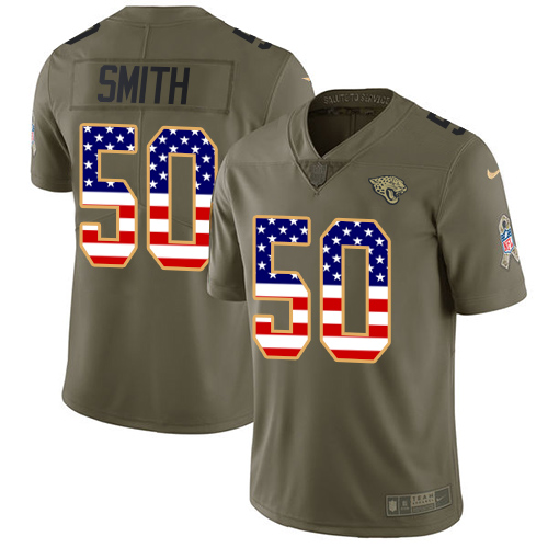 Nike Jaguars #50 Telvin Smith Olive/USA Flag Men's Stitched NFL Limited Salute To Service Jersey