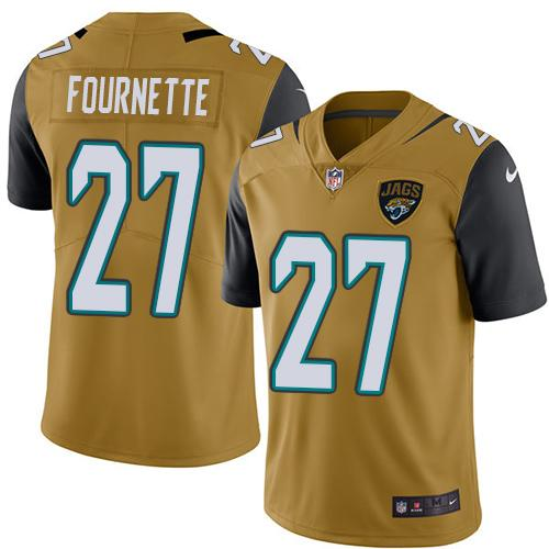 Nike Jaguars #27 Leonard Fournette Gold Men's Stitched NFL Limited Rush Jersey