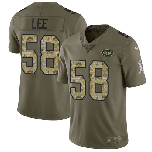 Nike Jets #58 Darron Lee Olive/Camo Men's Stitched NFL Limited Salute To Service Jersey