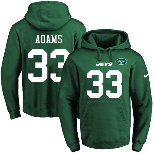 Nike Jets #33 Jamal Adams Green Name & Number Pullover NFL Hoodie