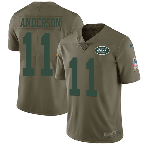 Nike Jets #11 Robby Anderson Olive Men's Stitched NFL Limited Salute To Service Jersey