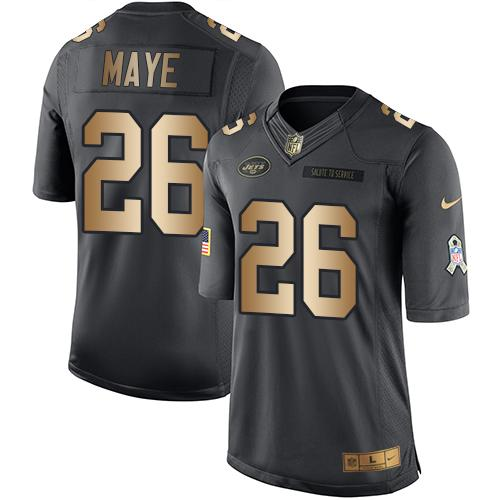 Nike Jets #26 Marcus Maye Black Men's Stitched NFL Limited Gold Salute To Service Jersey