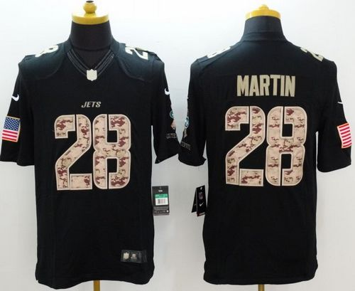 Nike Jets #28 Curtis Martin Black Men's Stitched NFL Limited Salute to Service Jersey