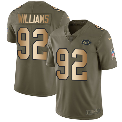 Nike Jets #92 Leonard Williams Olive/Gold Men's Stitched NFL Limited Salute To Service Jersey