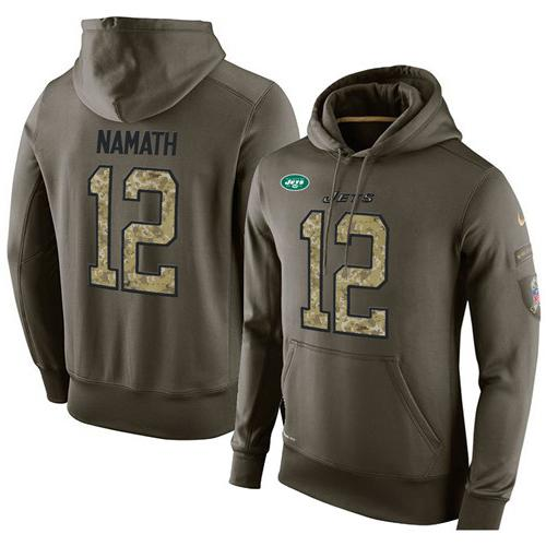 NFL Men's Nike New York Jets #12 Joe Namath Stitched Green Olive Salute To Service KO Performance Hoodie