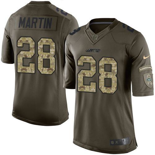 Nike Jets #28 Curtis Martin Green Men's Stitched NFL Limited Salute to Service Jersey