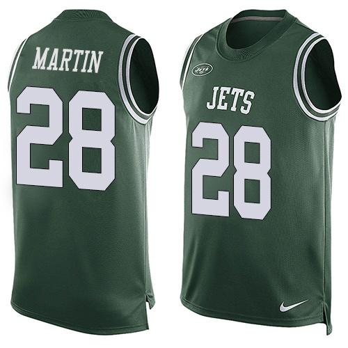 Nike Jets #28 Curtis Martin Green Team Color Men's Stitched NFL Limited Tank Top Jersey